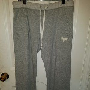 WOMENS VS PINK SWEAT PANTS GRAY SZ SMALL